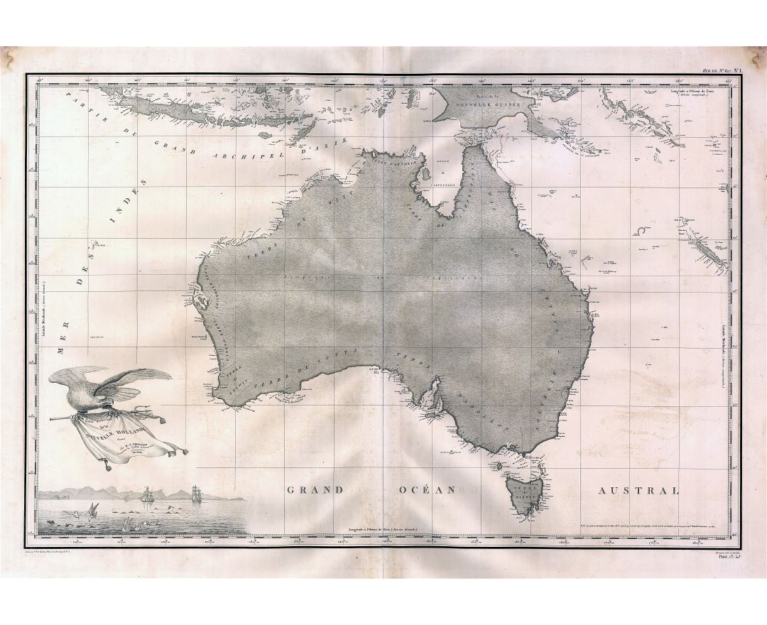 Large scale old map of Australia - 1808