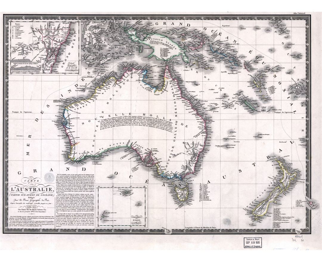 Large scale old map of Australia - 1826