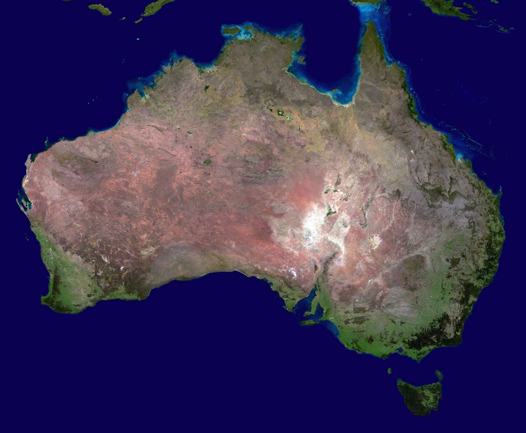 Large scale satellite map of Australia
