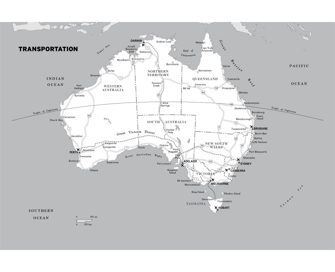 Large transportation map of Australia with cities and airports