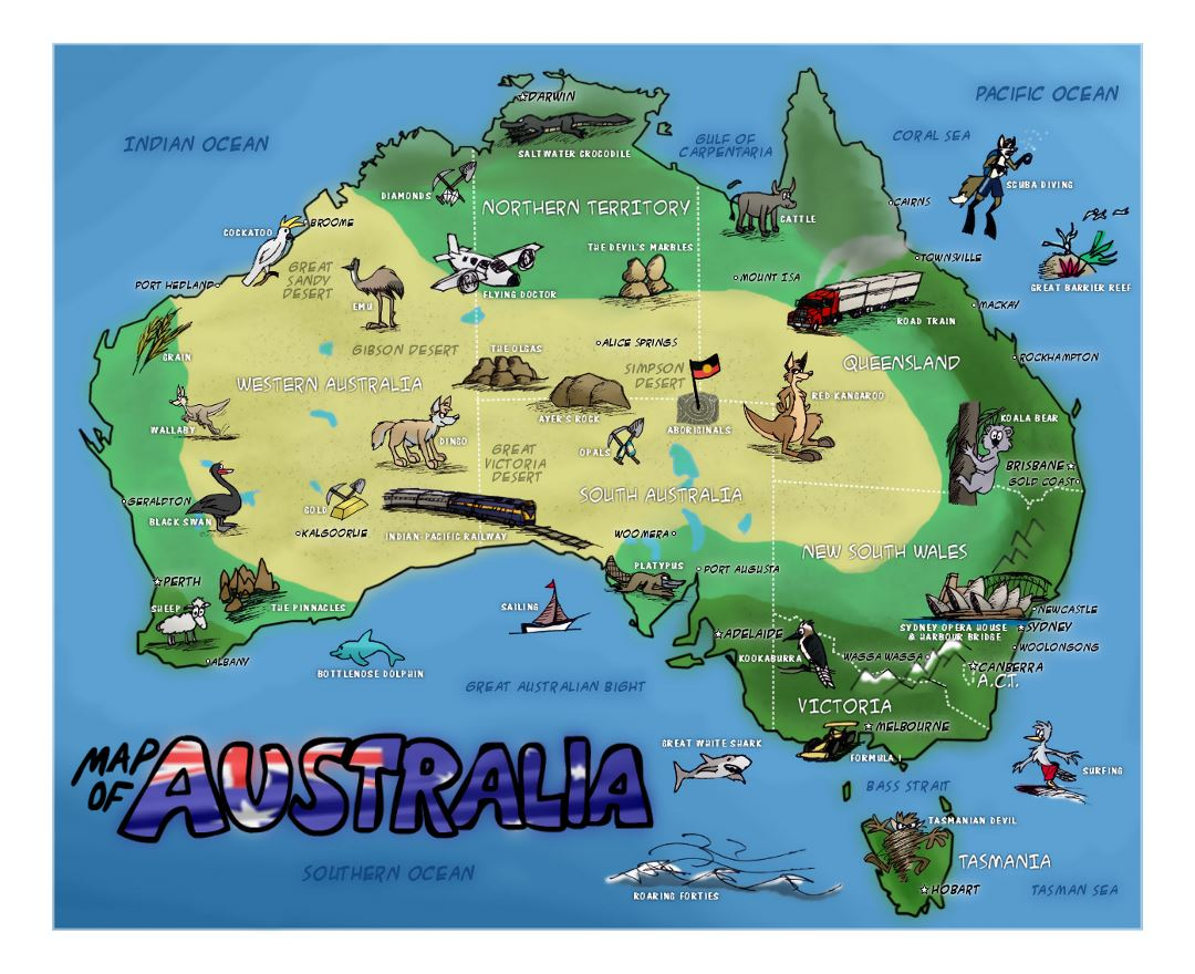 Large travel illustrated map of Australia