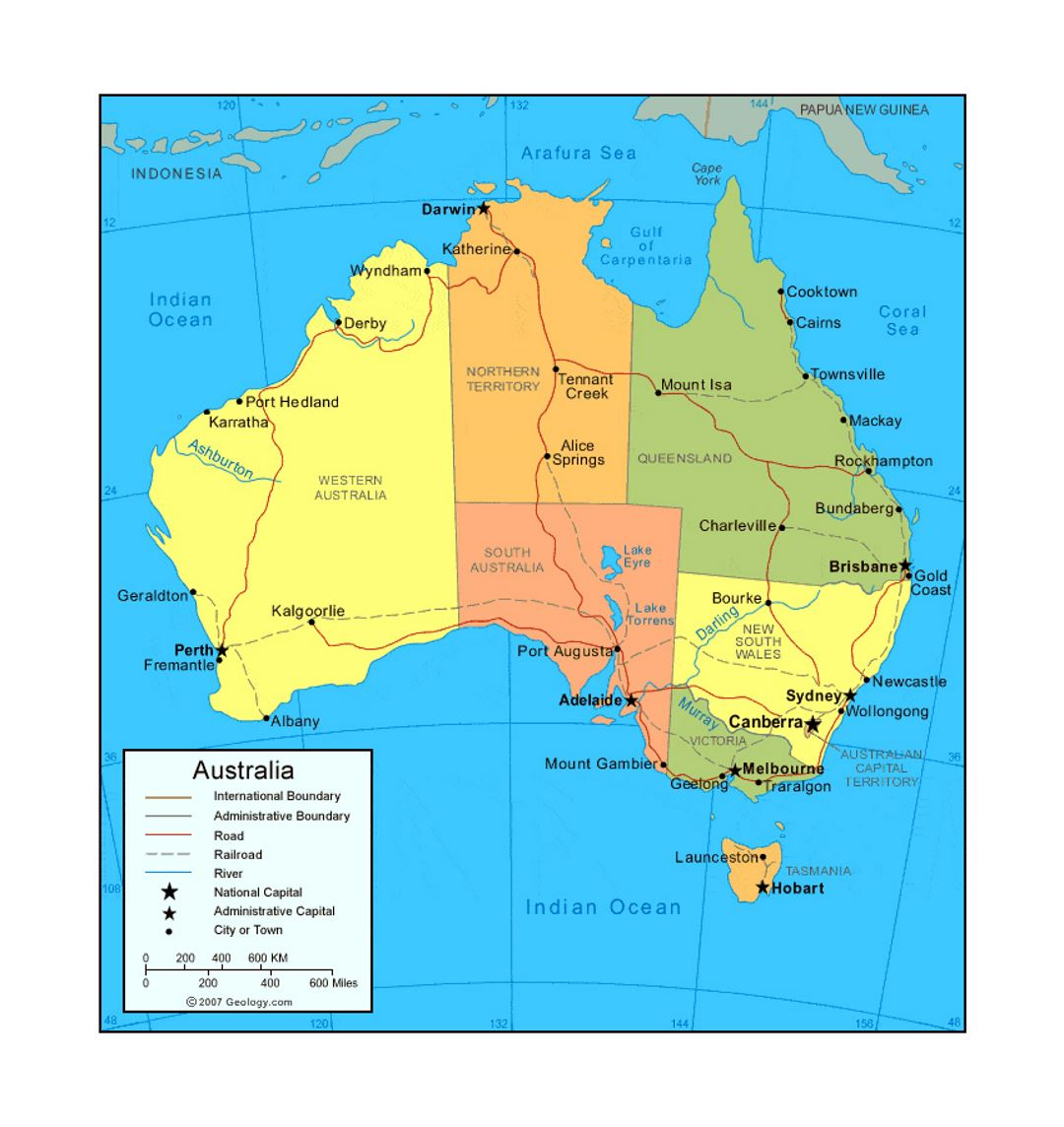 Map Of Australia Showing Capital Cities.Political And Administrative Map Of Australia With Roads Railroads