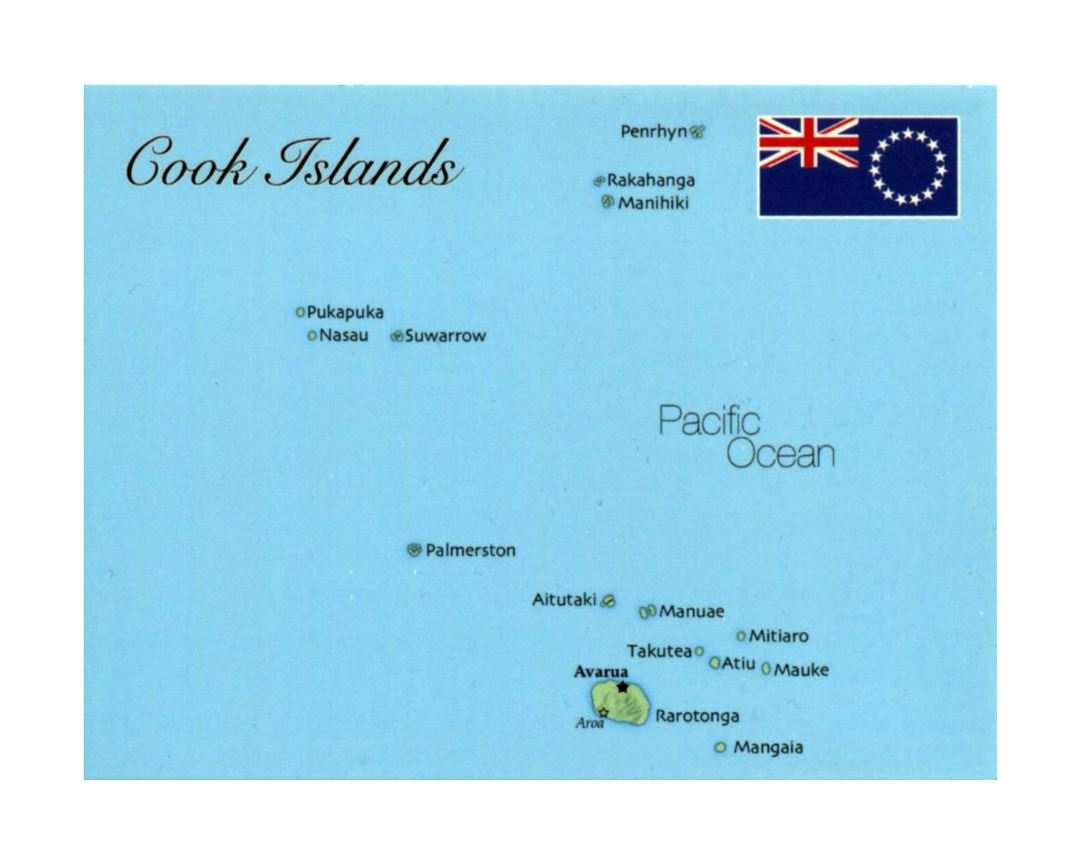 Detailed map of Cook Islands with flag