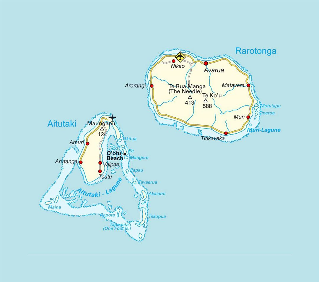 Detailed map of Rarotonga and Aitutaki, Cook Islands with roads, airports and cities