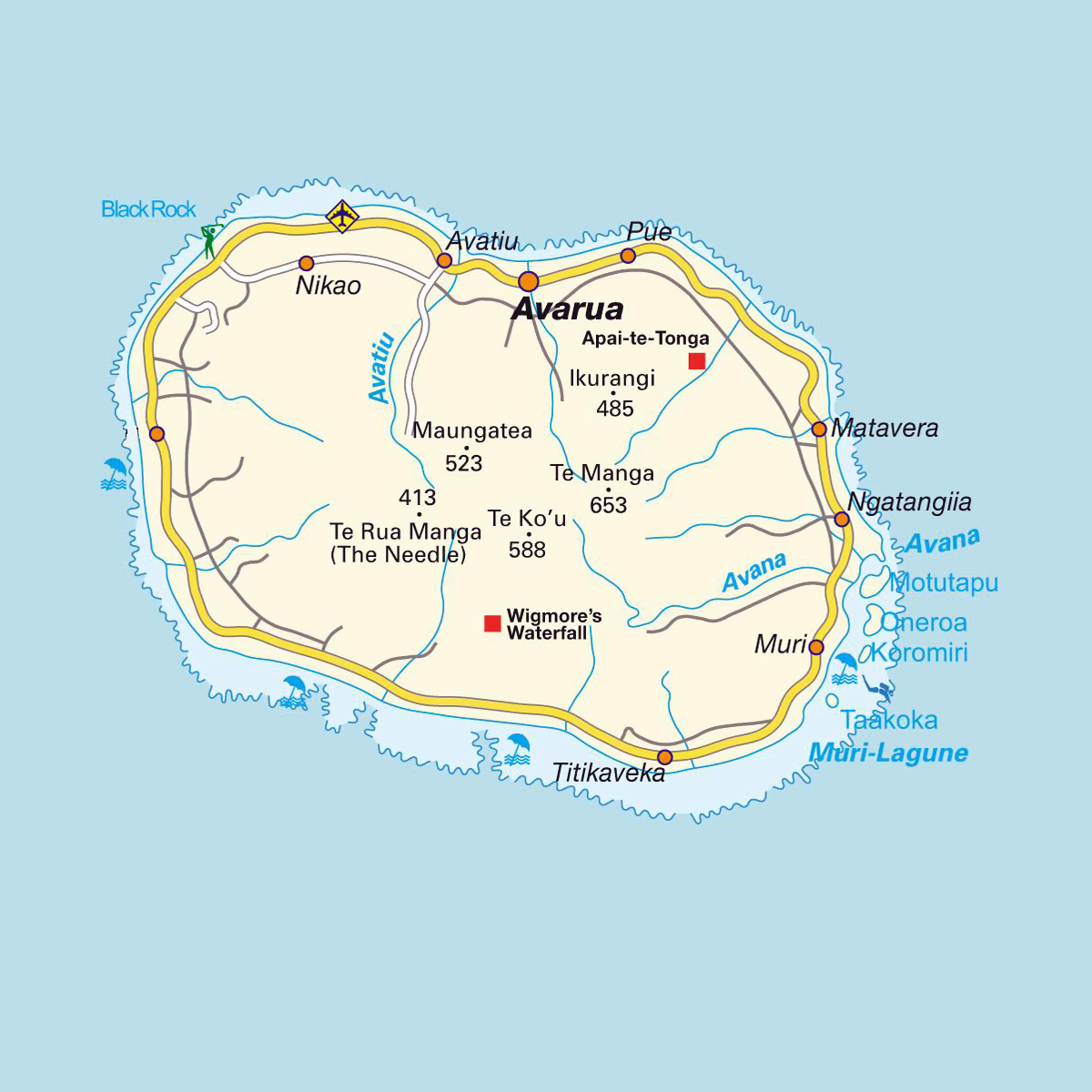 Detailed road map of Rarotonga Island with airport and cities | Cook Islands  | Oceania | Mapsland | Maps of the World