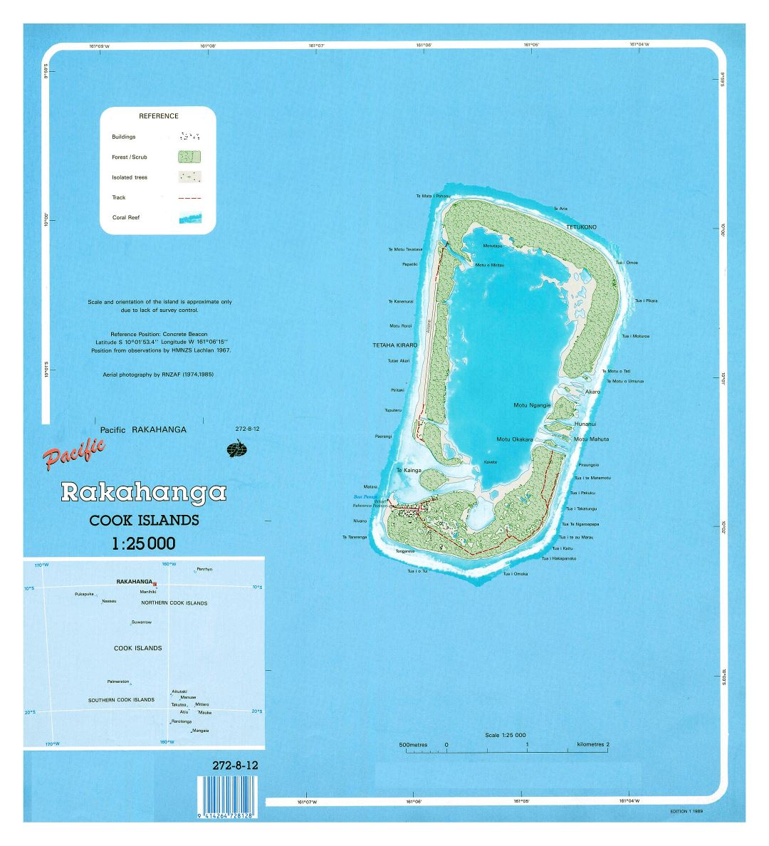 Large detailed map of Rakahanga, Cook Islands with other marks