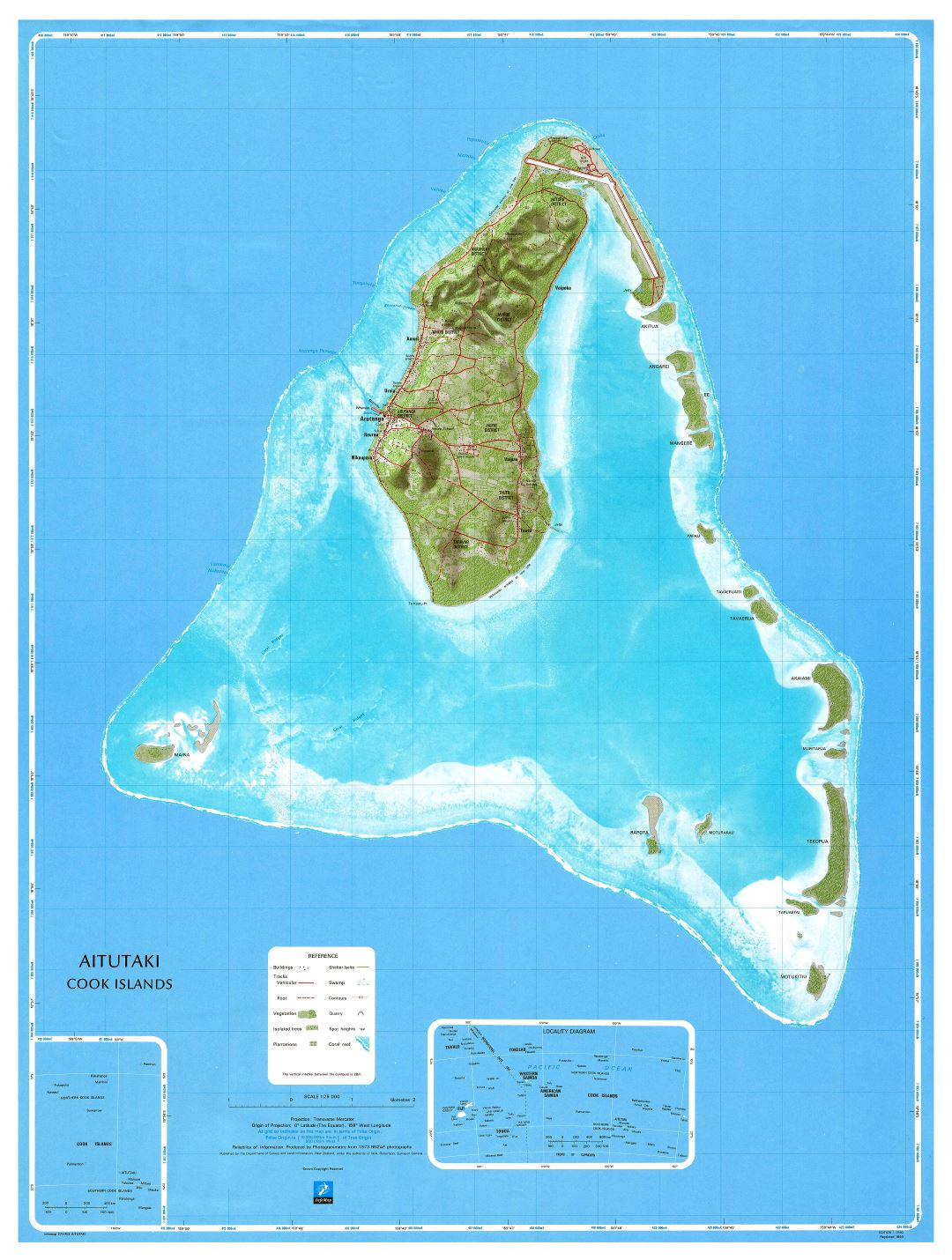 Large scale topographical map of Aitutaki Island, Cook Islands