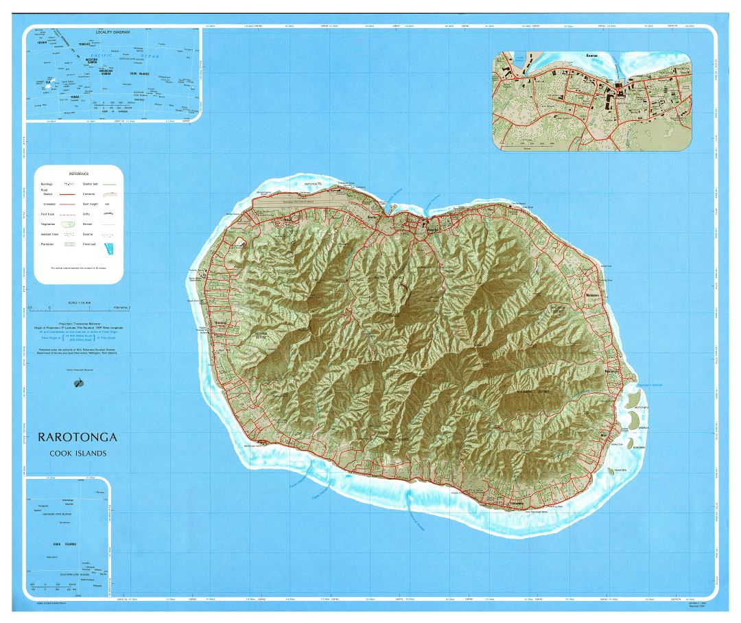 Large scale topographical map of Rarotonga Island, Cook Islands
