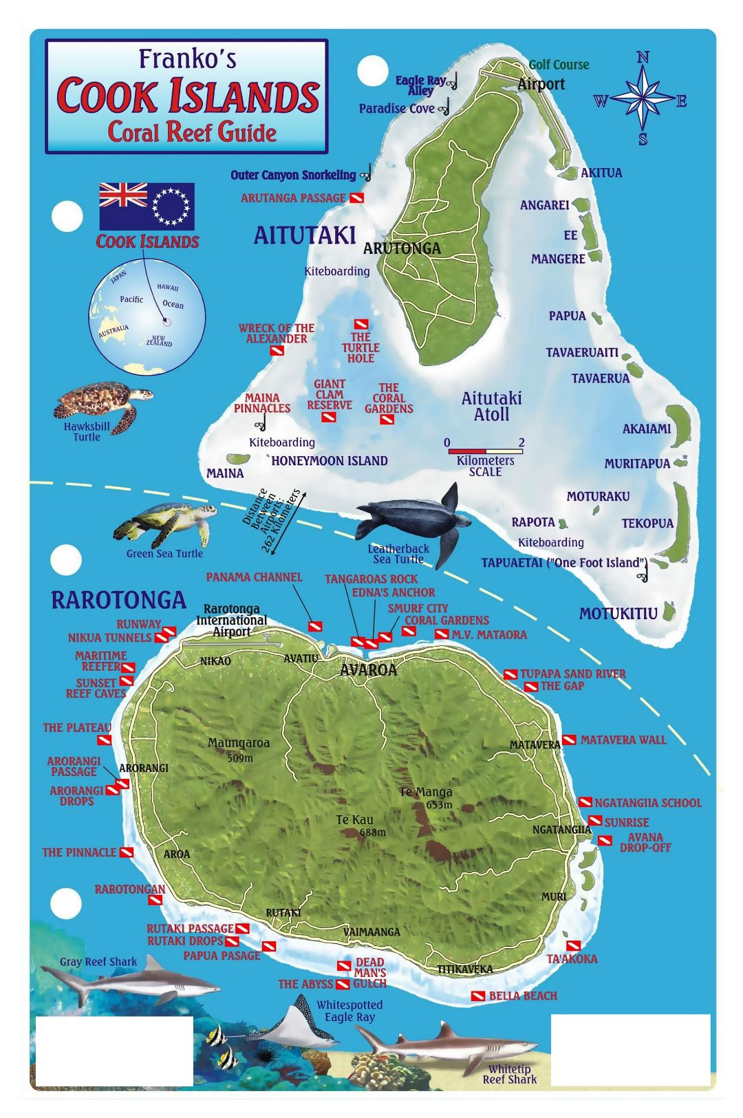 Large tourist map of Cook Islands