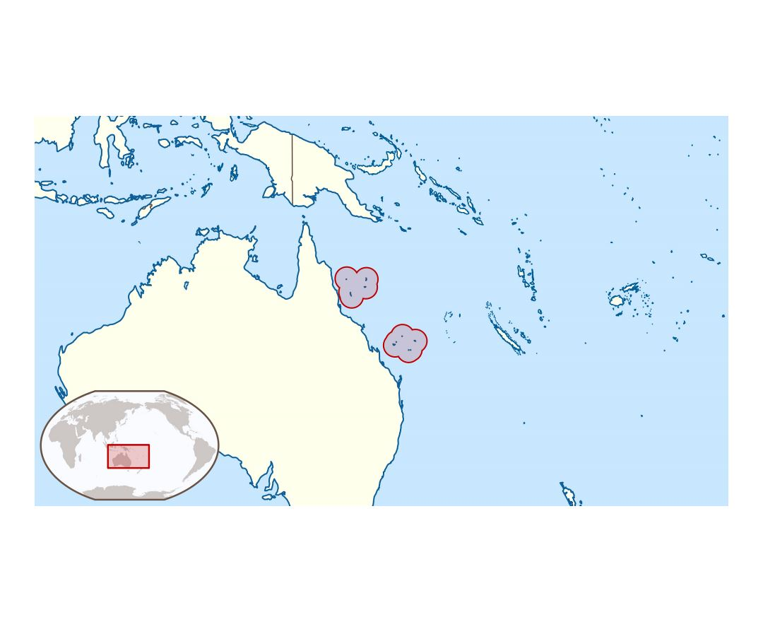 Large location map of Coral Sea Islands