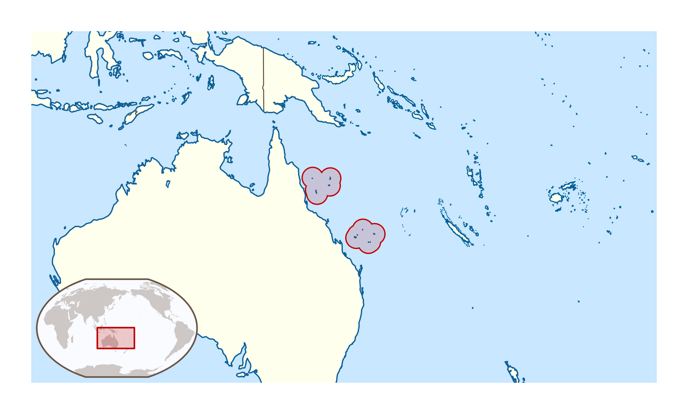 Large Location Map Of Coral Sea Islands Coral Sea Islands