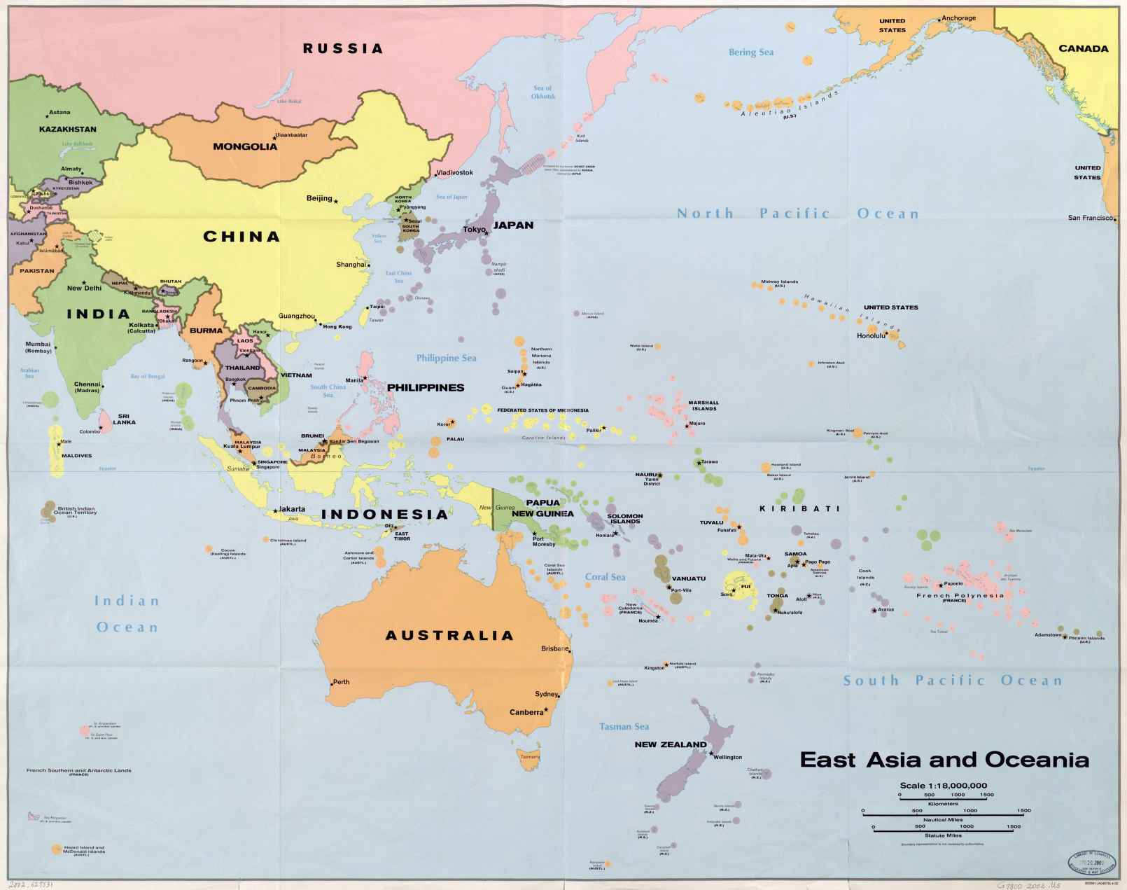Detailed Political Map Of East Asia And Oceania Oceania - Oceania map
