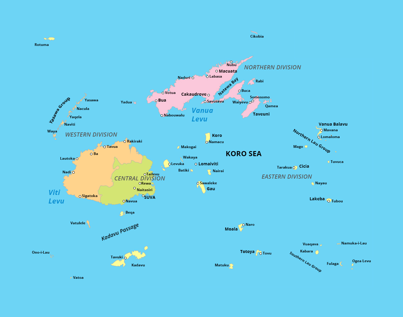 Detailed administrative map of Fiji | Fiji | Oceania ...