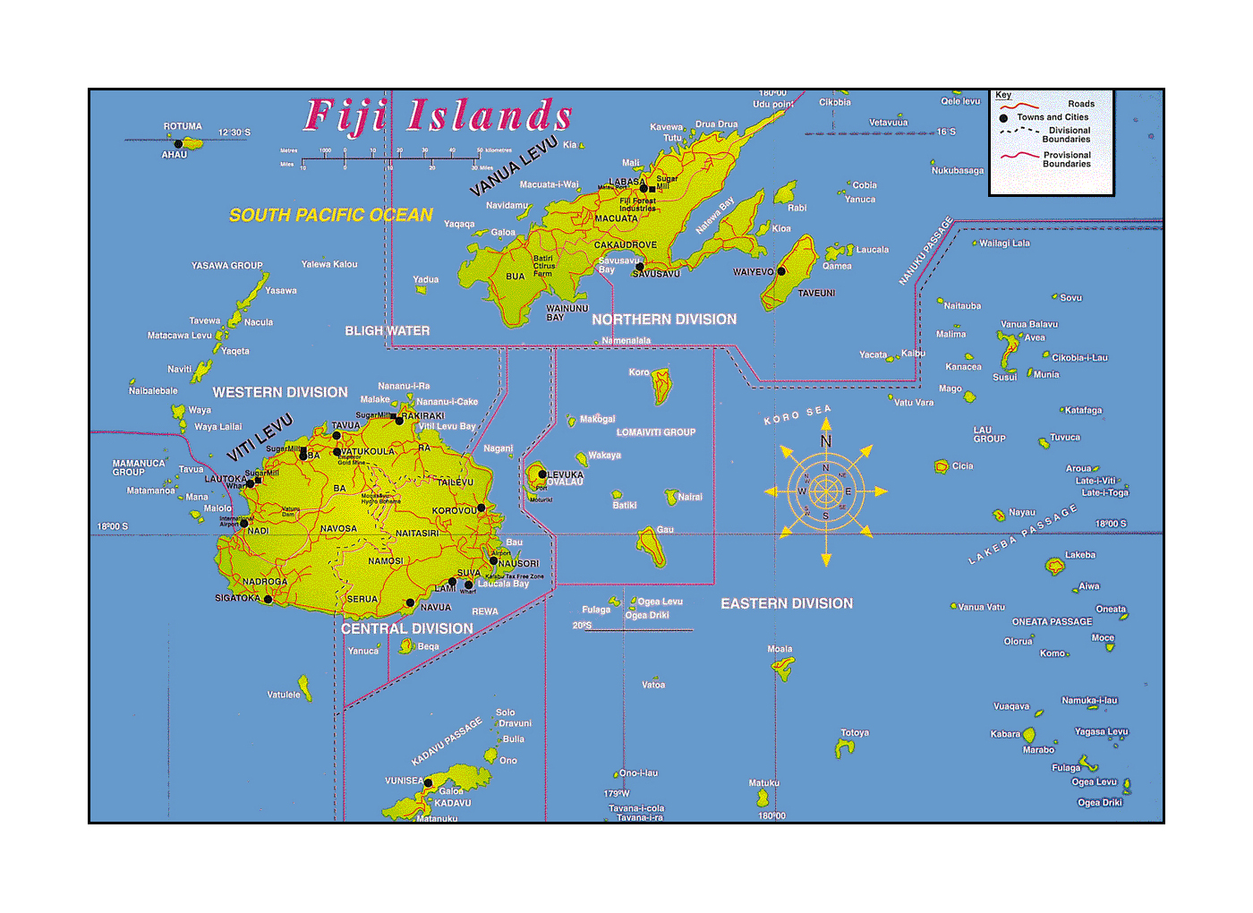 Detailed Fiji Islands map with other marks | Fiji | Oceania ...