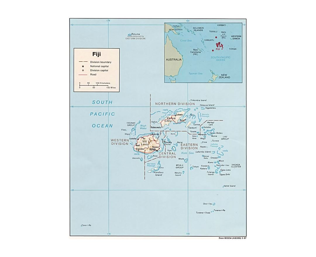 Maps of Fiji Detailed map of Fiji in English Tourist map travel