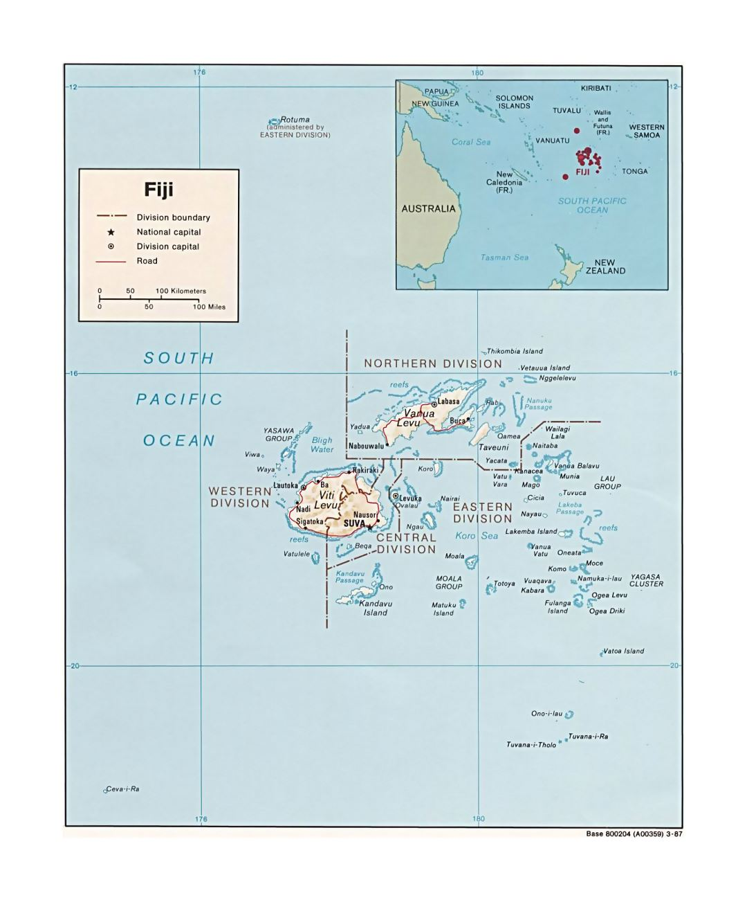 Detailed political and administrative map of Fiji with relief, roads and major cities - 1987