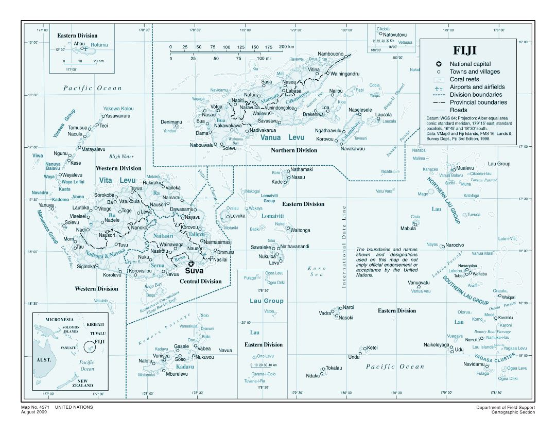 Large detailed political and administrative map of Fiji with other marks