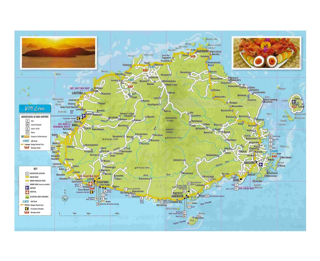 Maps of Fiji Detailed map of Fiji in English Tourist map travel
