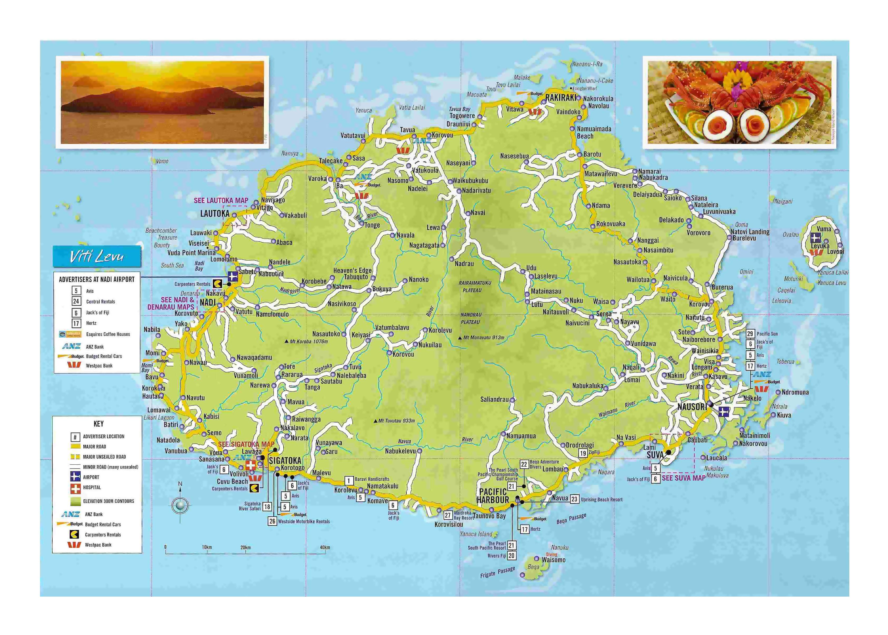 Large Detailed Tourist Map Of Viti Levu Island Fiji With Other - Fiji islands map