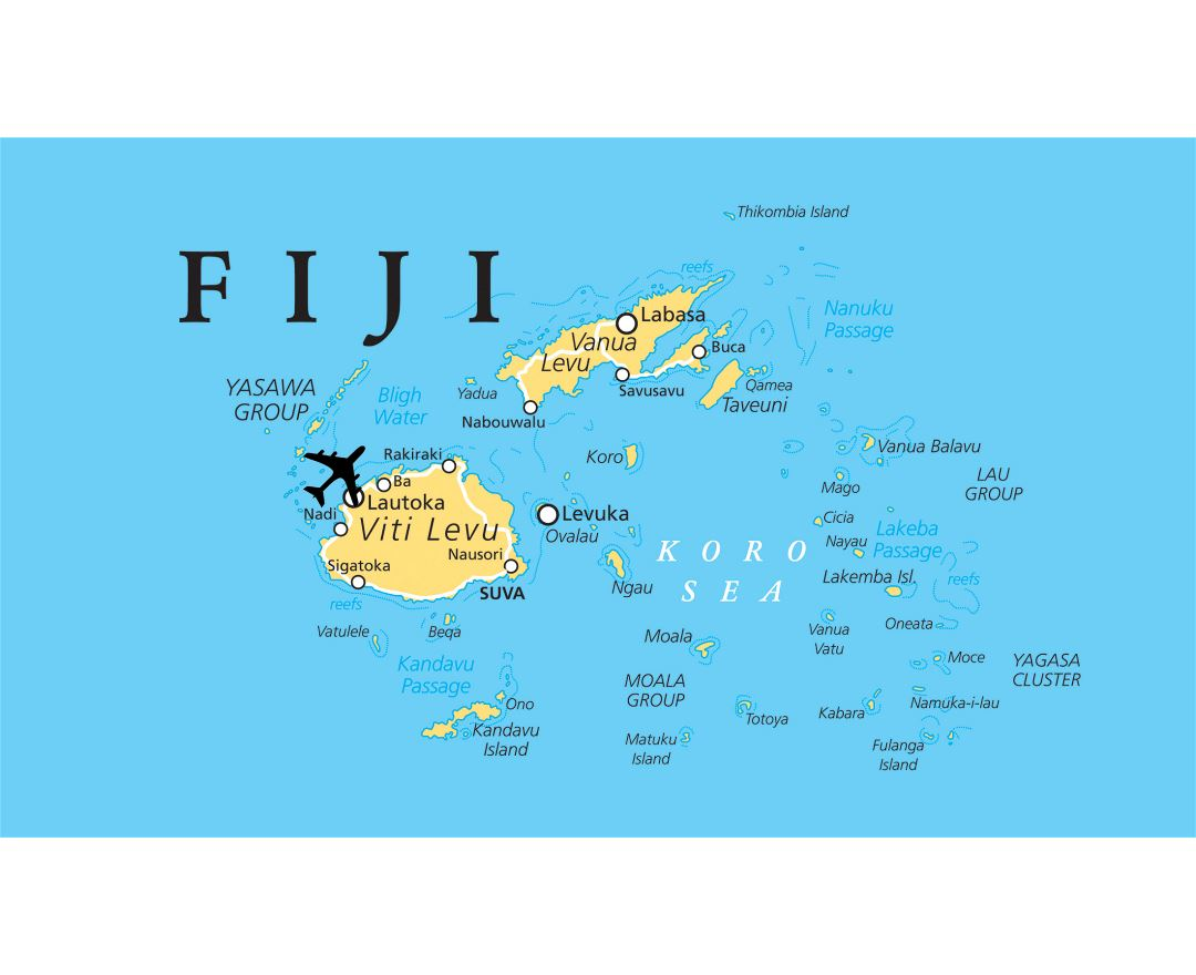 Maps of fiji detailed map of fiji in english tourist map travel large map of fiji with cities gumiabroncs Image collections