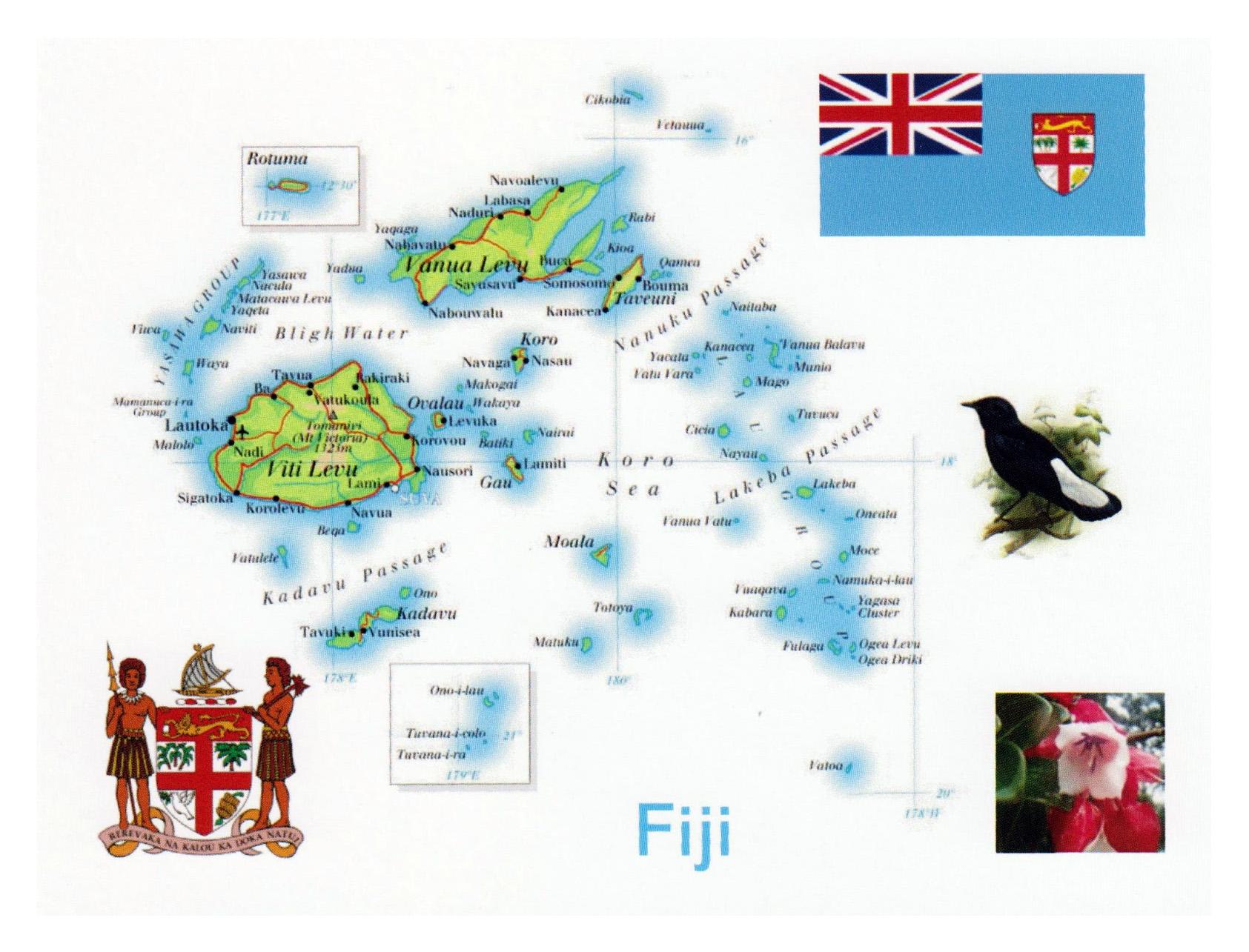 Large map of Fiji | Fiji | Oceania | Mapsland | Maps of the ...
