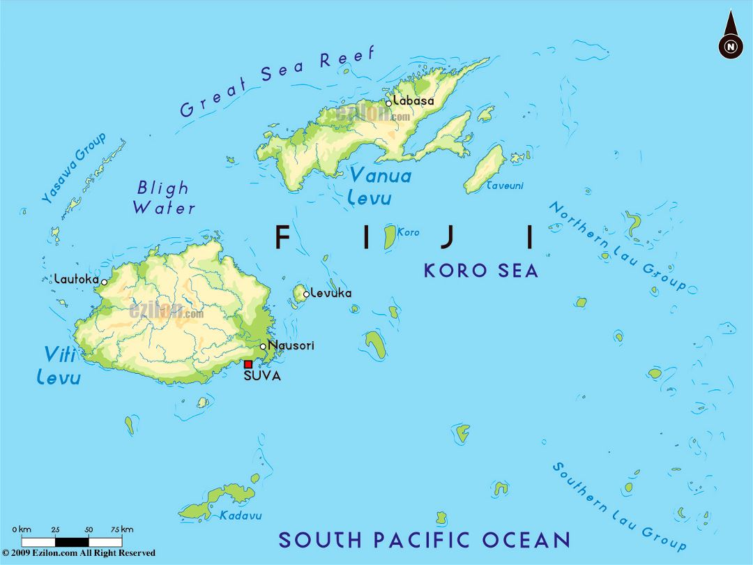 Large physical map of Fiji with major cities