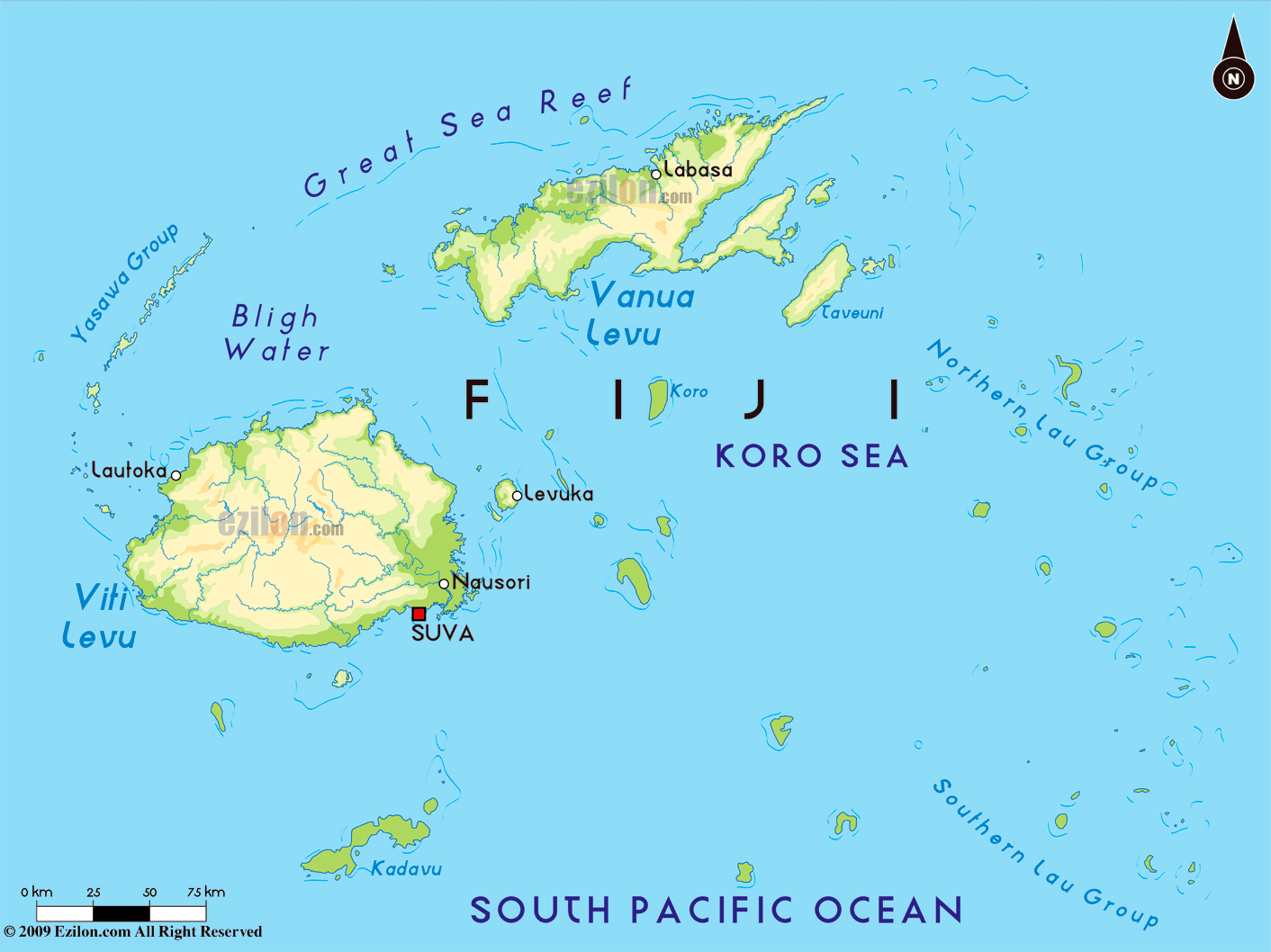 Large physical map of Fiji with major cities Fiji Oceania