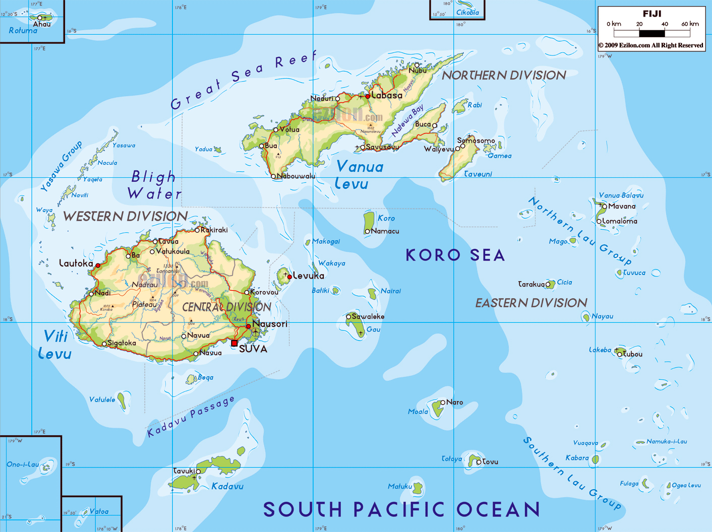 Large physical map of Fiji with roads major cities and airports