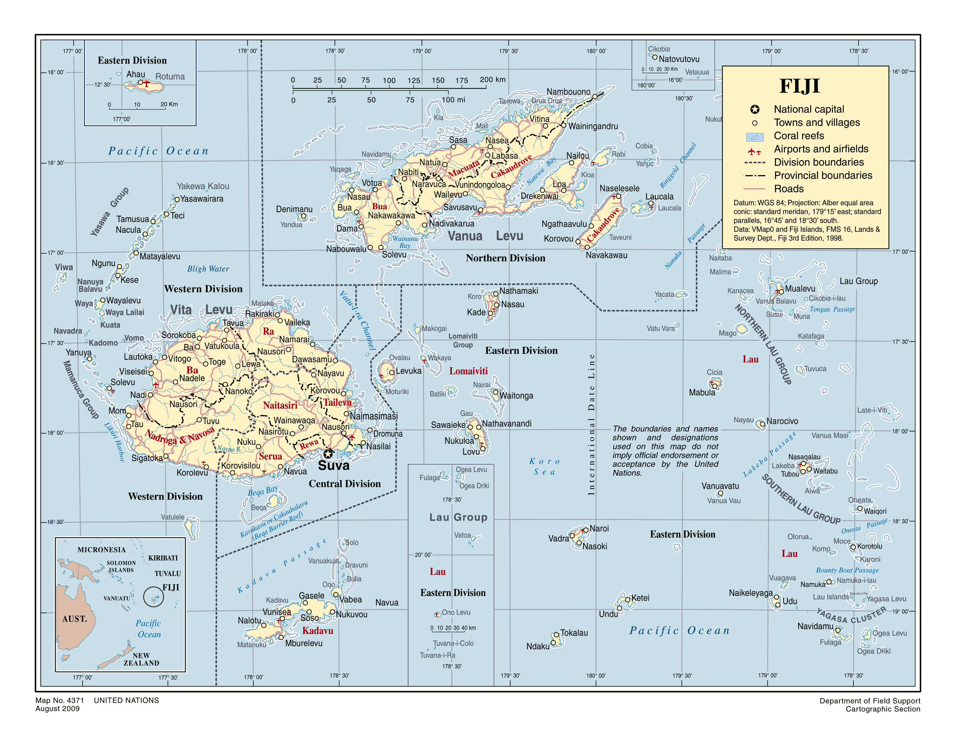 Large political and administrative map of Fiji with roads cities
