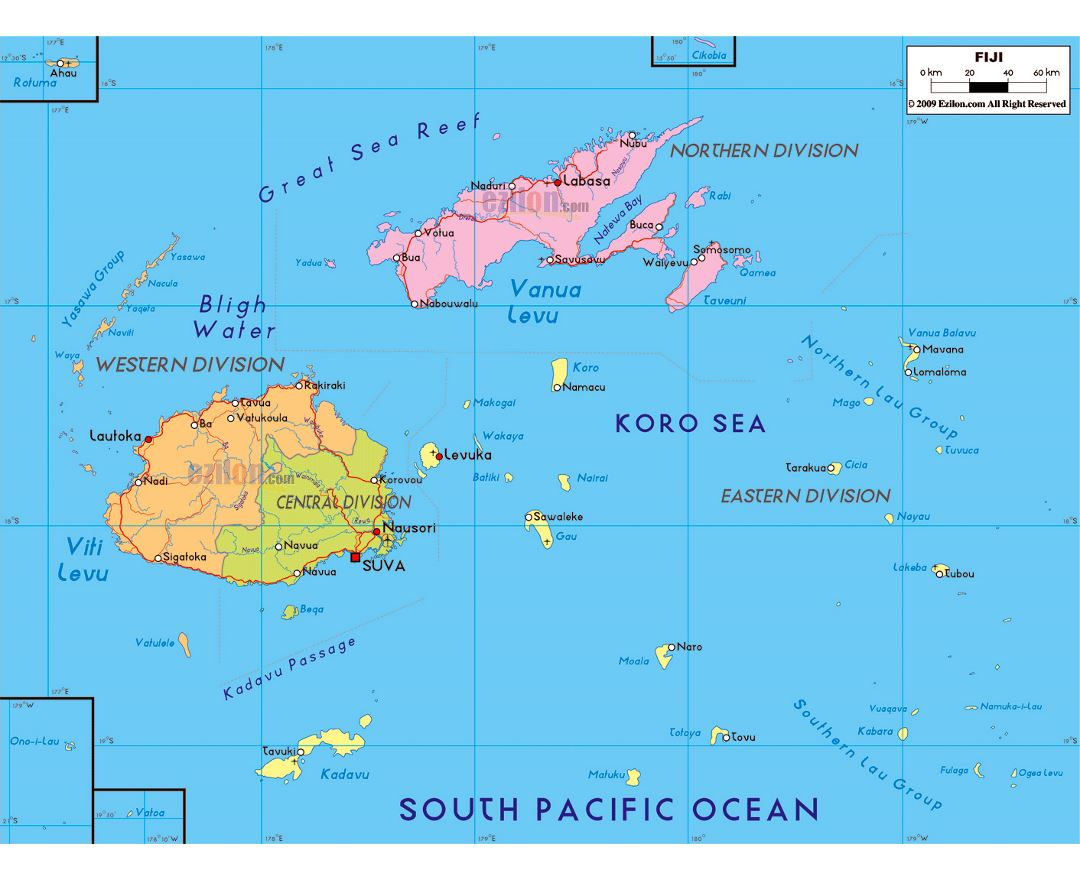 Maps of fiji detailed map of fiji in english tourist map travel large political and administrative map of fiji with roads major cities and airports gumiabroncs