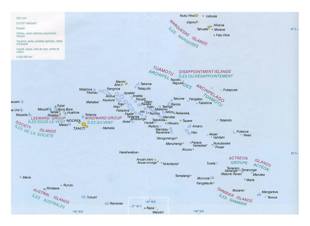 Detailed political map of French Polynesia