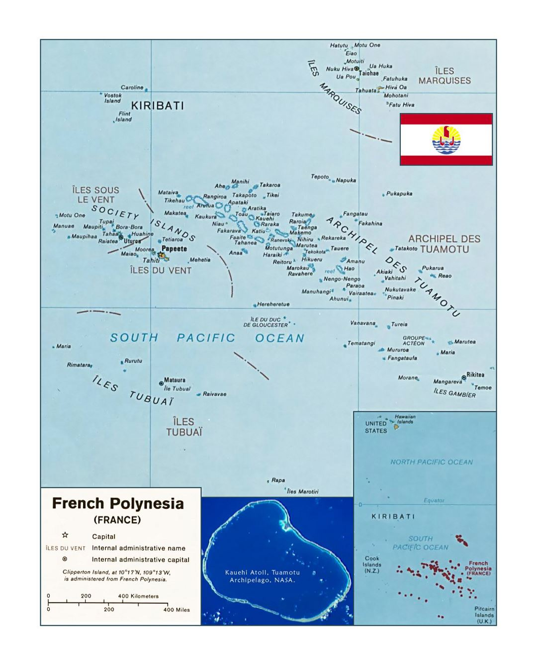 Detailed political map of French Polynesia with flag