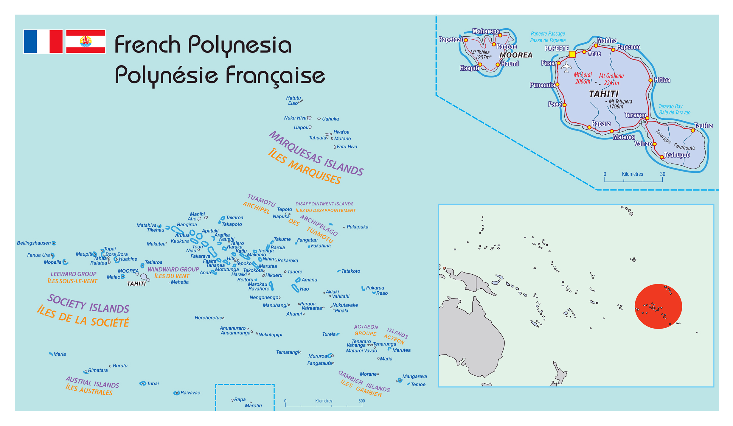 Large political map of french polynesia french polynesia oceania large political map of french polynesia gumiabroncs Gallery