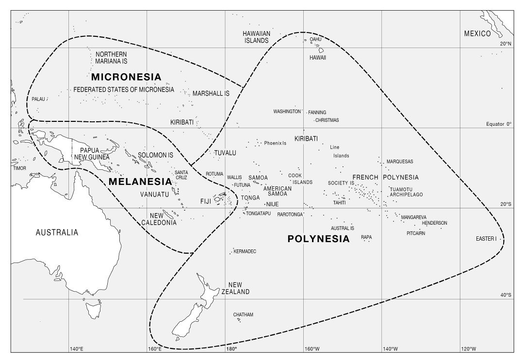 Large political map of Micronesia, Melanesia and Polynesia