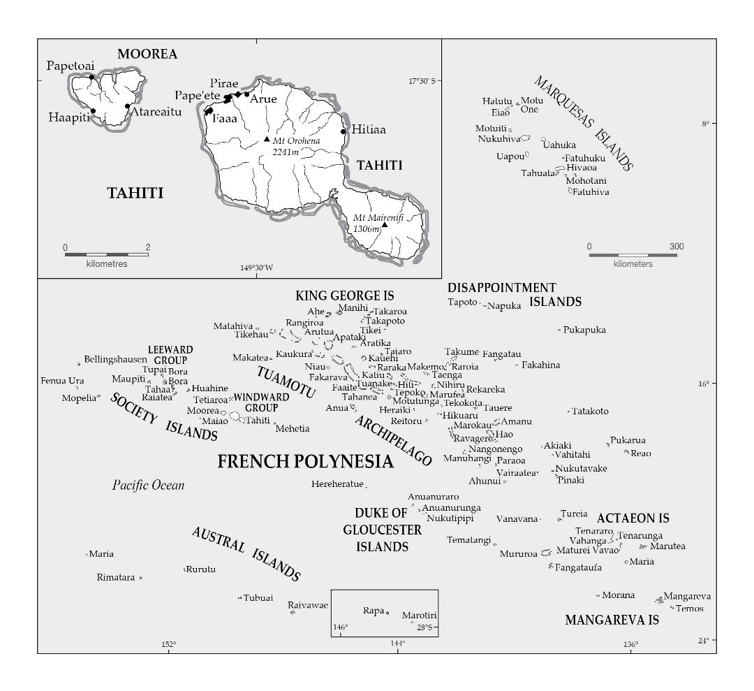 Large political map of Tahiti and French Polynesia