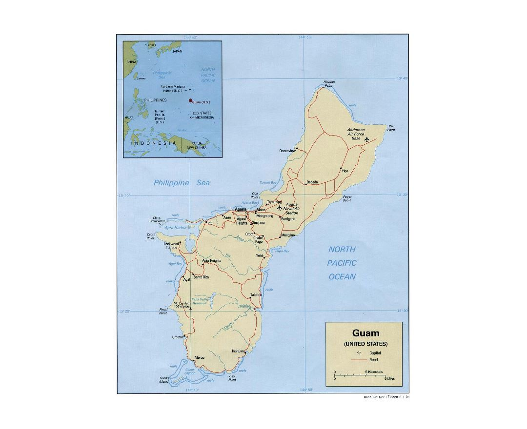 Maps of guam detailed map of guam in english tourist map travel detailed political map of guam with roads cities and airports 1991 gumiabroncs Image collections