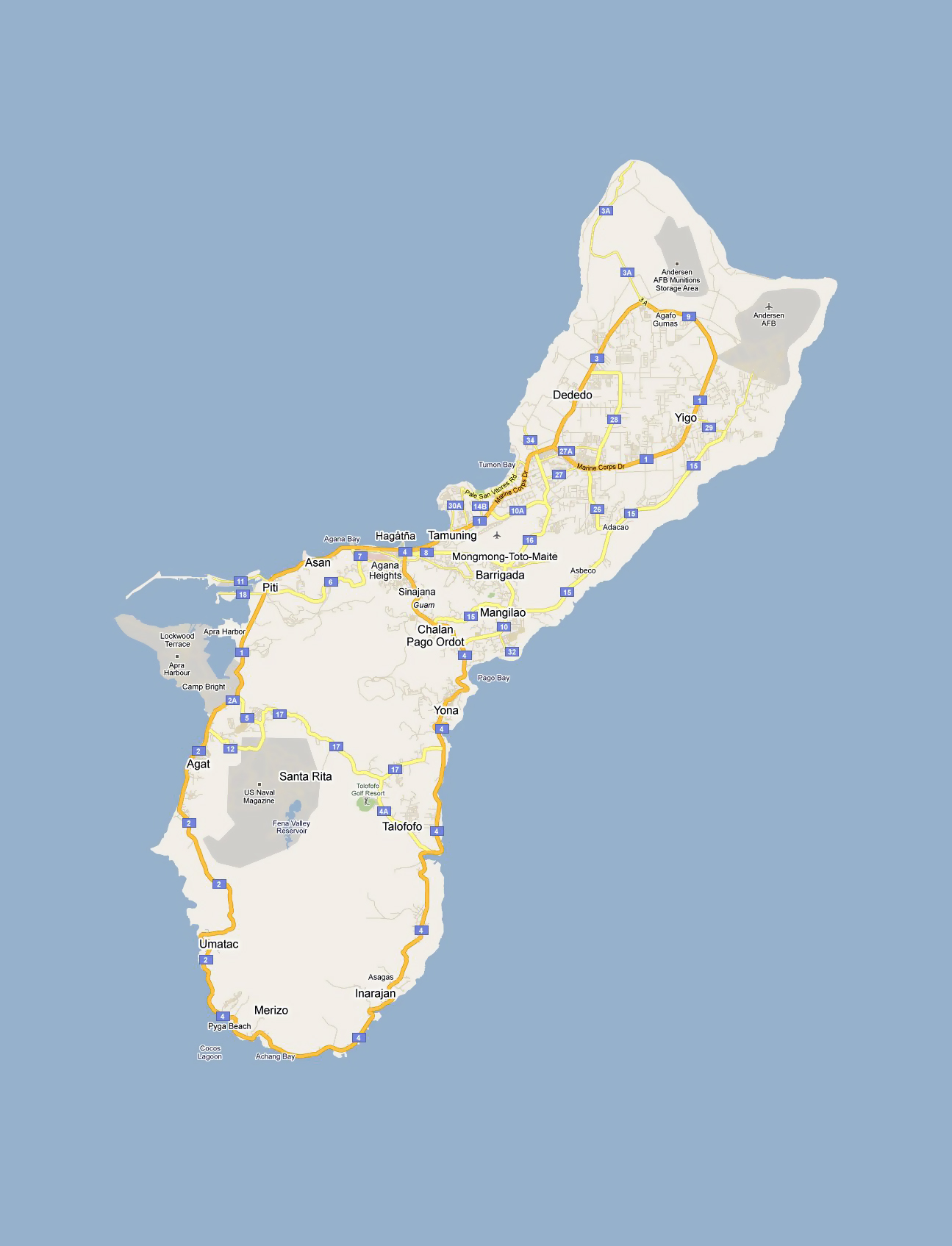 Detailed Road Map Of Guam With Cities And Villages Guam - Guam world map