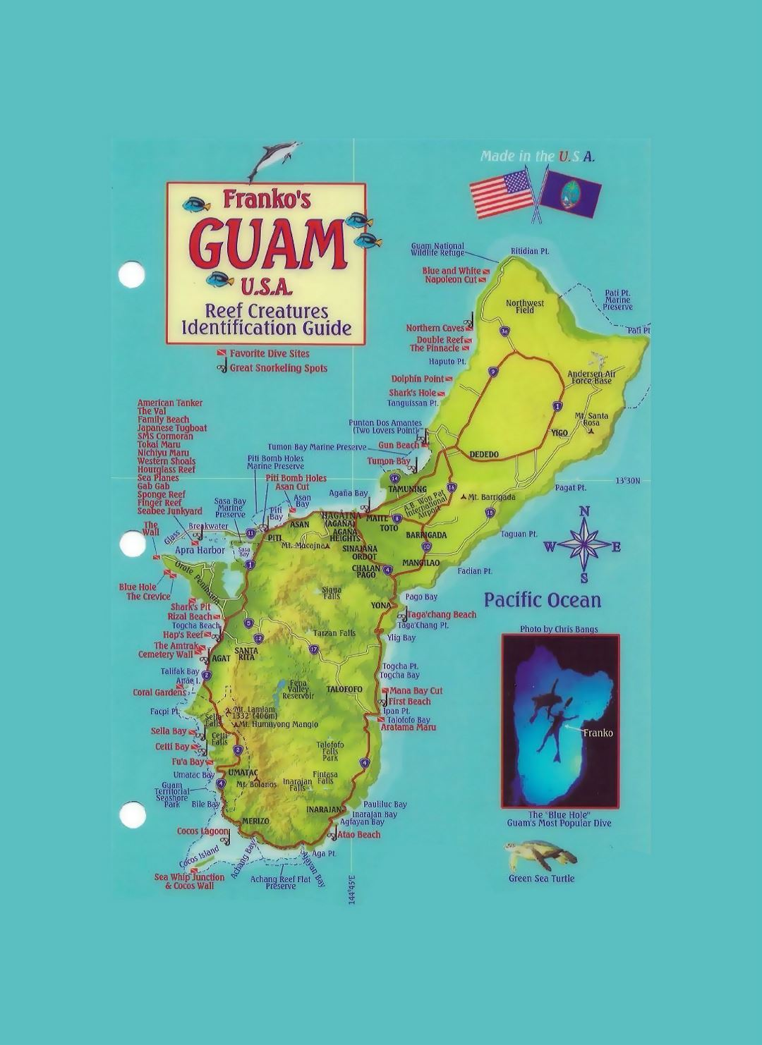 Detailed tourist map of Guam with other marks