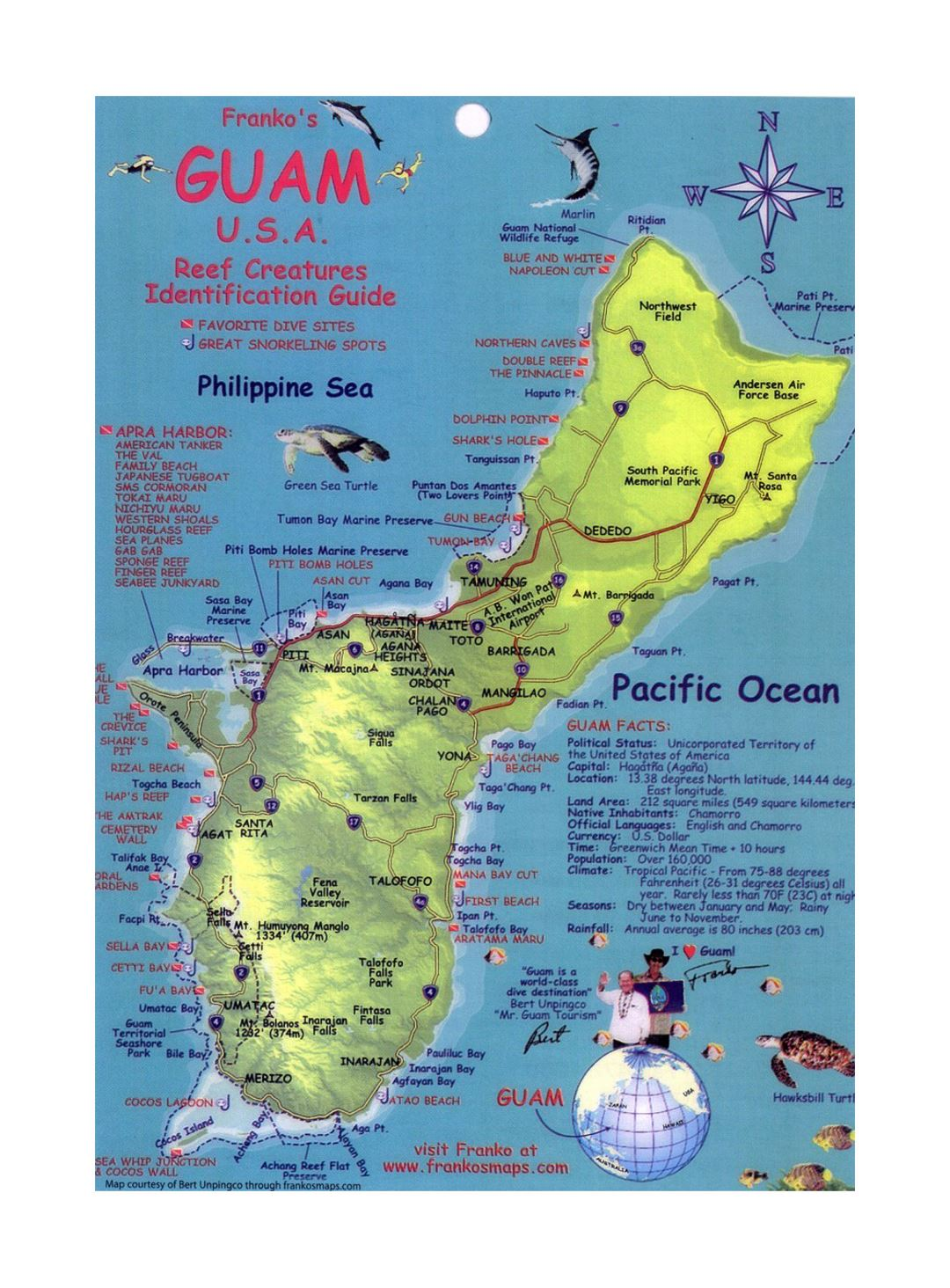 Detailed travel map of Guam with other marks