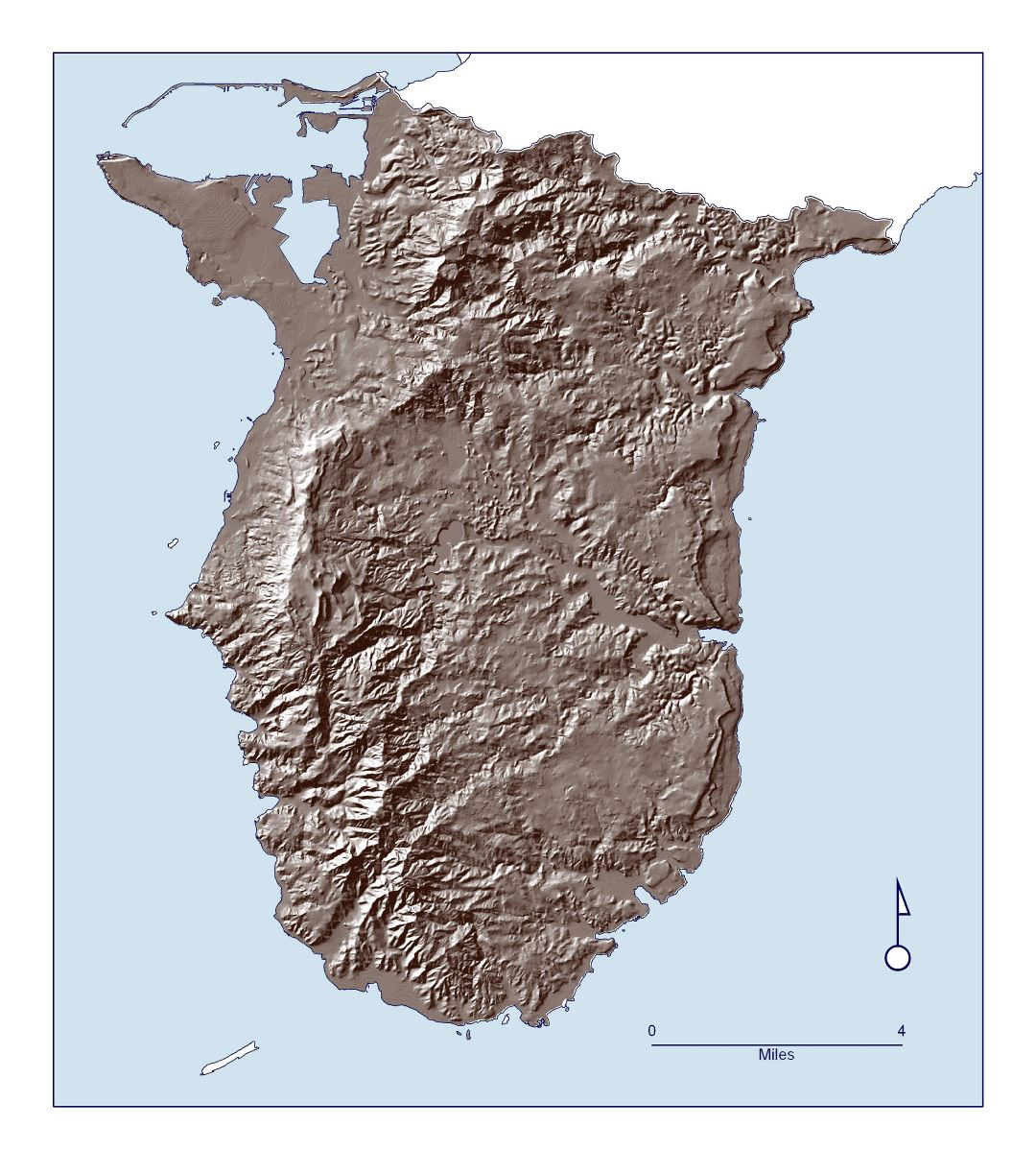 Large detailed relief map of Southern Guam