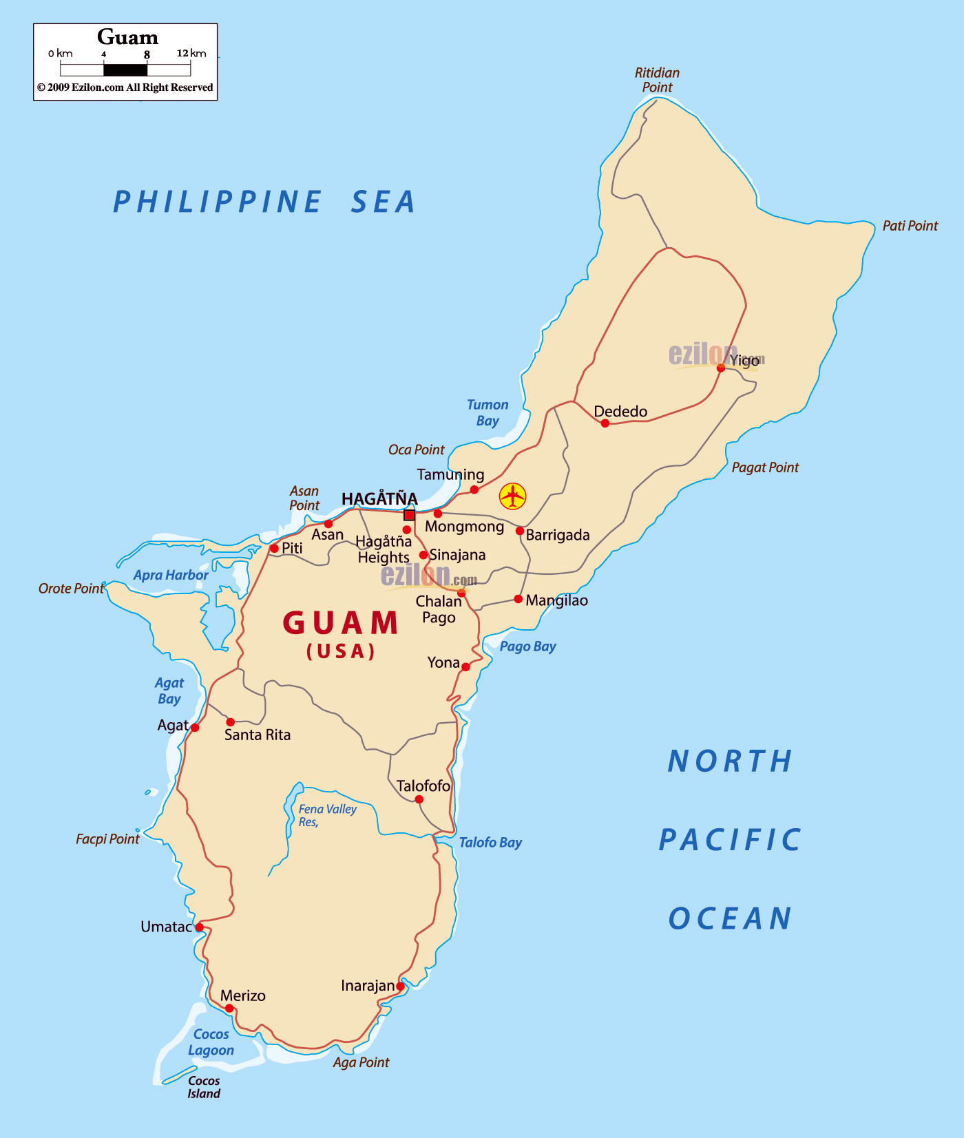 Large detailed road map of Guam with cities and airports ...