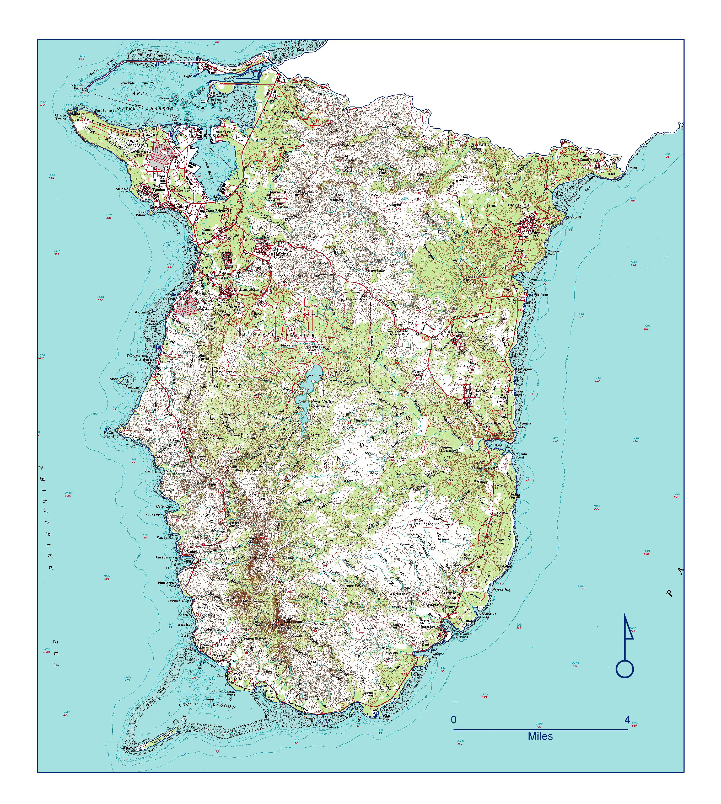 Large Detailed Topographical Map Of Southern Guam Guam Oceania - Guam map