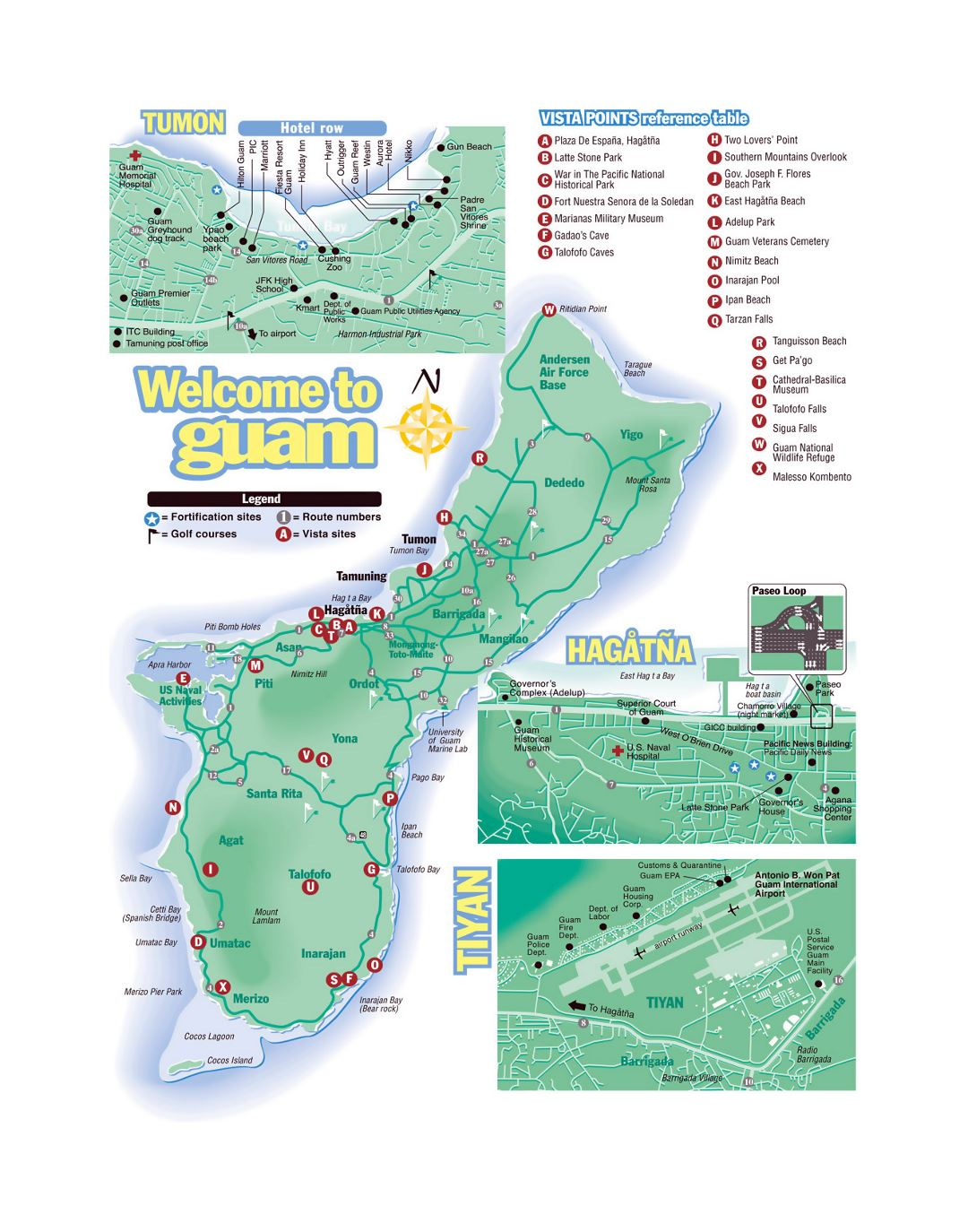 Large tourist map of Guam with roads and airports