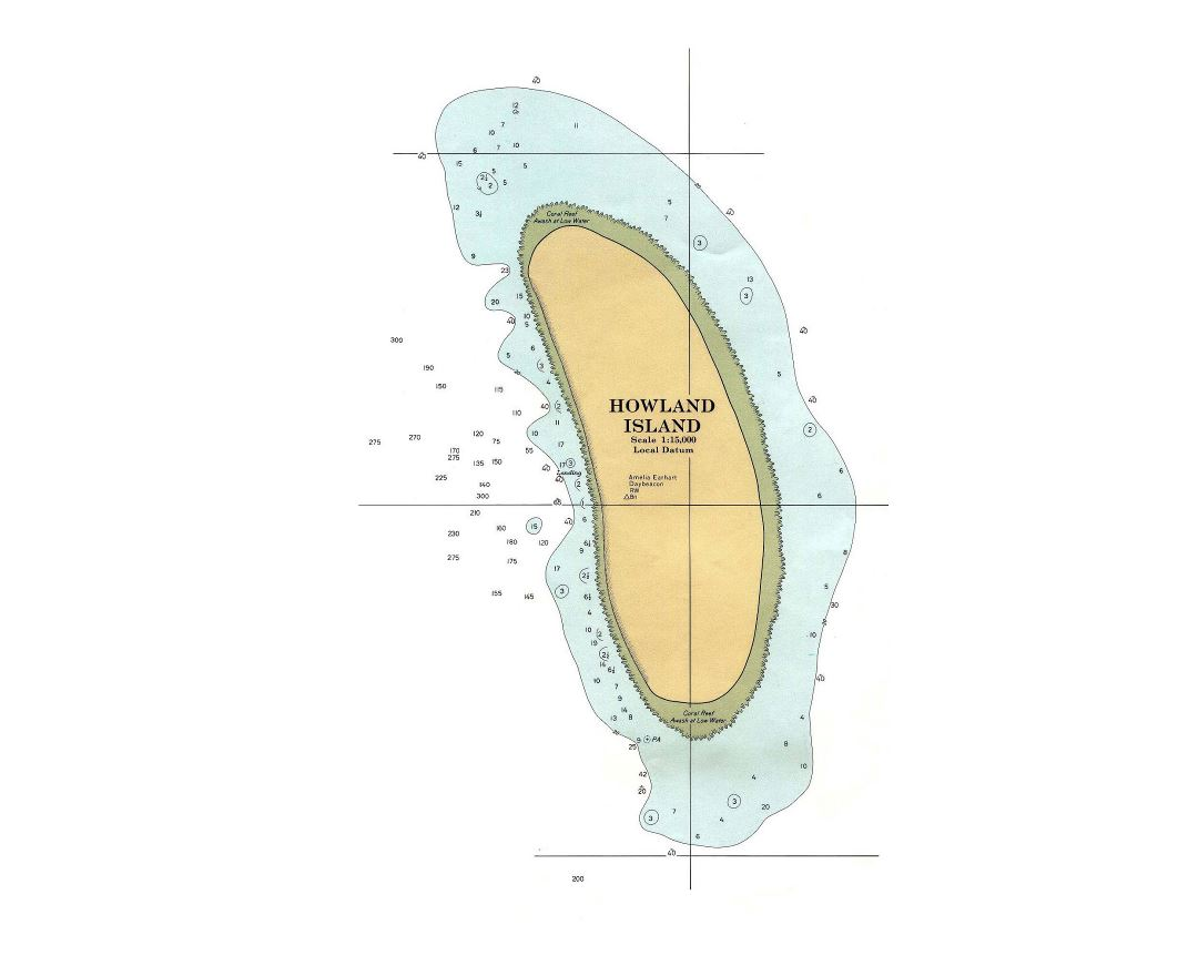 Large topographical map of Howland Island