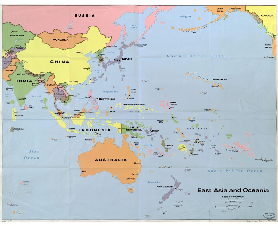 in high resolution detailed political map of east asia and oceania with the marks of capitals