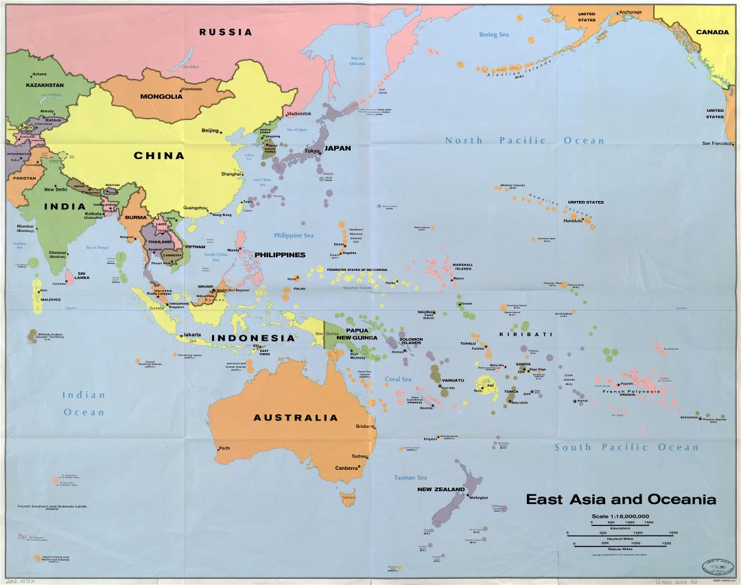 In high resolution detailed political map of East Asia and Oceania
