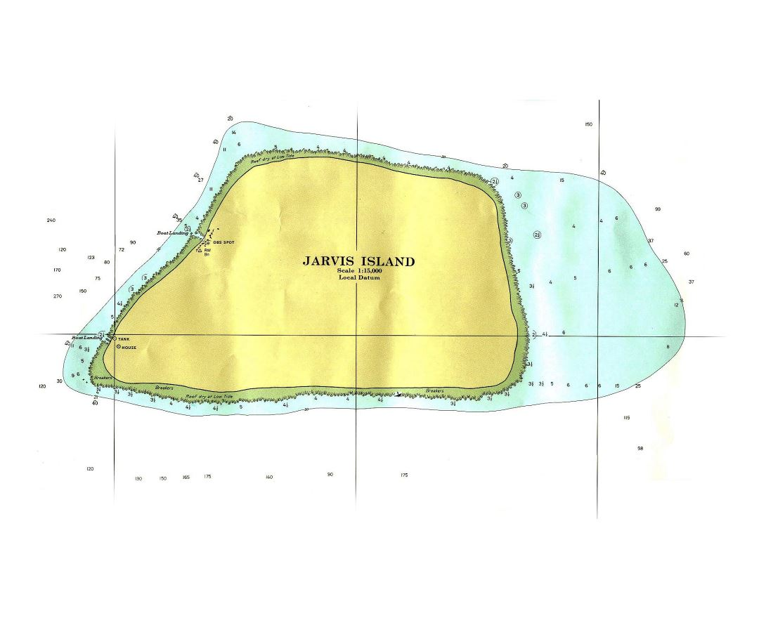 Large topographical map of Jarvis Island