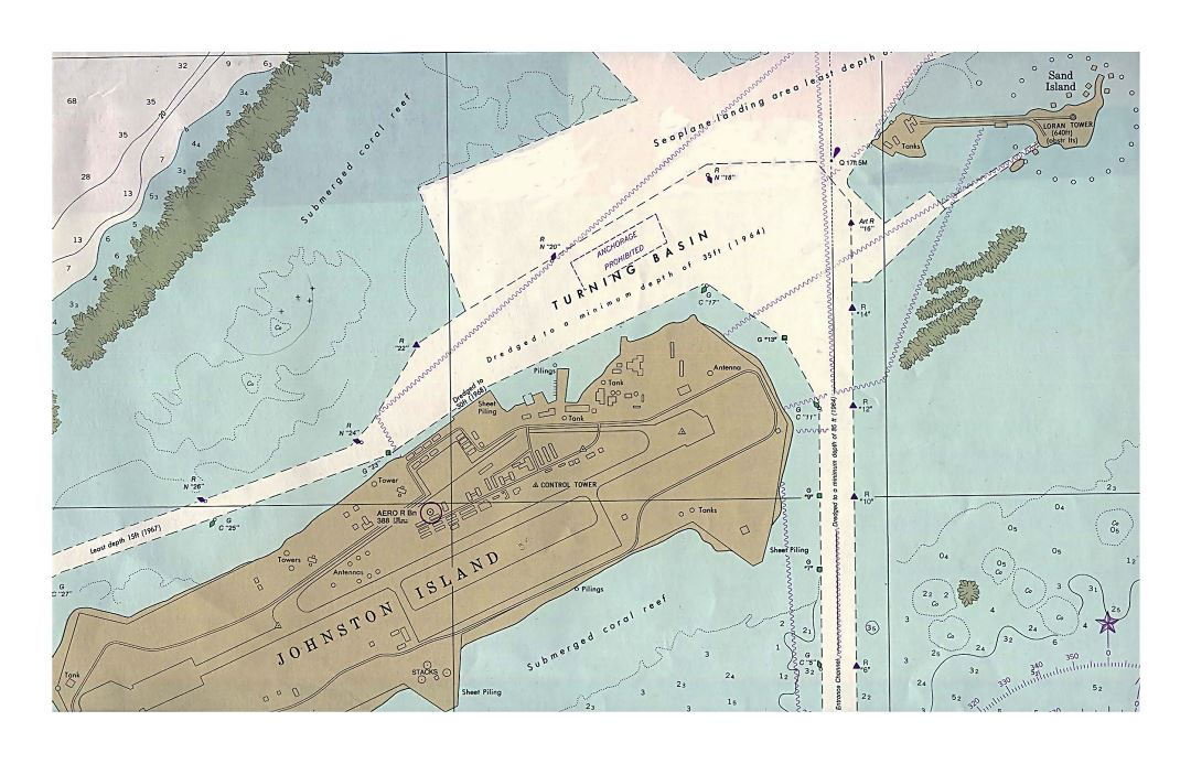 Large map of Johnston Atoll with marks of other facilities