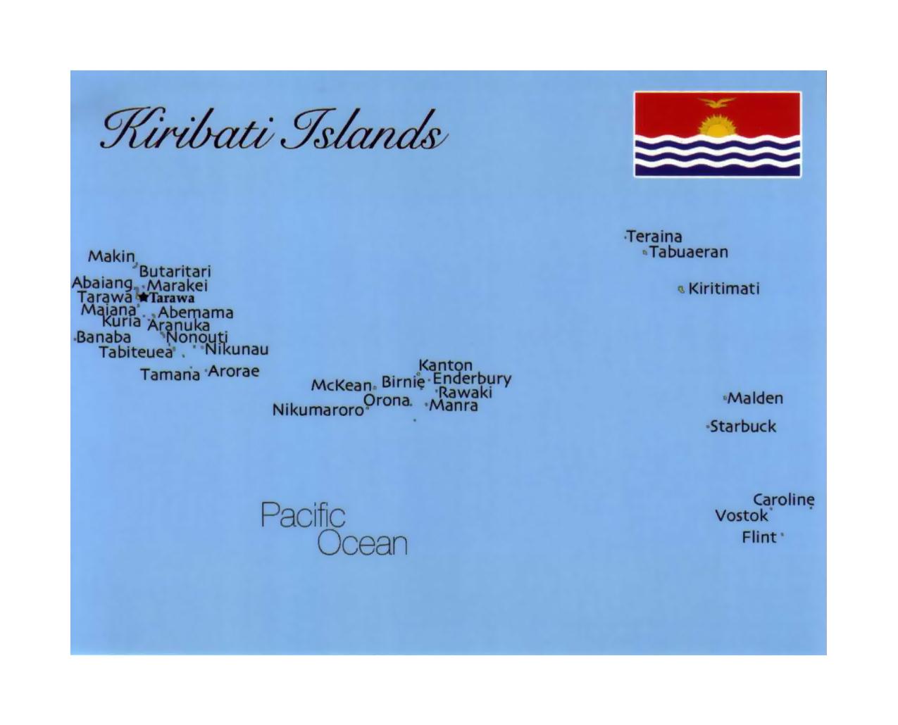 Detailed map of Kiribati with flag Kiribati Oceania Mapsland