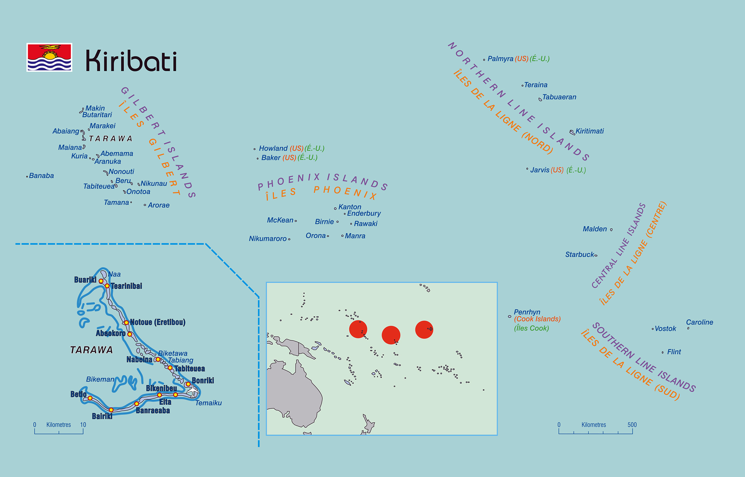 Large detailed political map of Kiribati with islands names ... on kiribati pacific island map, south pacific islands world map, islands of kiribati map, marshall islands map, tuvalu world map,